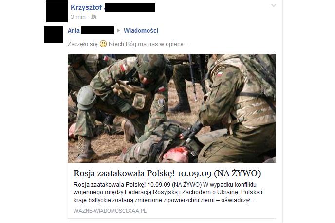 Rosja zaatakowała Polskę – kolejny facebookowy przekręt