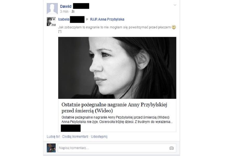 Ostatnie nagranie Anny Przybylskiej – o kolejne oszustwo na Facebooku